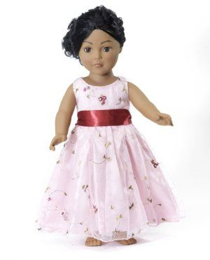 """18 Inch Doll Clothes/clothing Fits American Girl Dolls - Embroidered Bow Dress 18"""" Outfit by Wish Doll Company. $19.99. Luxurious high quality fabrics, machine washable, safety tested. Thick cherry red satin bow, makes a lovely fat chunky bow.. Gorgeous pink satin dress with soft sheer overlay with rose embroidery. Made to fit 18 Inch dolls such as American Girl, Madame Alexander, My Generation, etc.. **Doll not included.This is a gorgeous pink satin dress with a sheer embr..."""