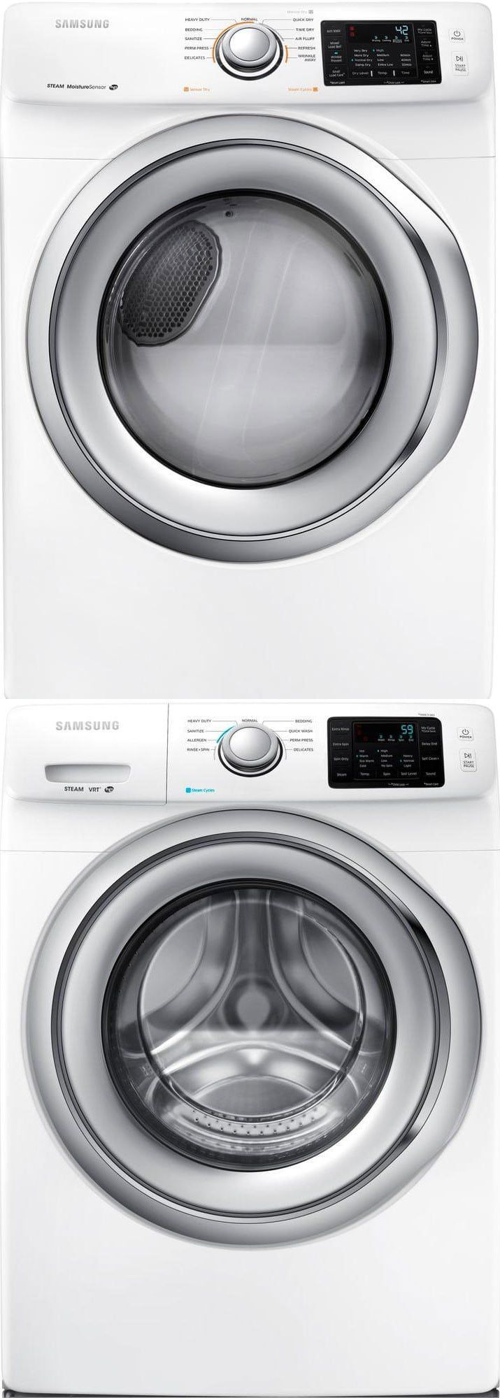Samsung SAWADREW32 Stacked Washer & Dryer Set with Front Load Washer and Electric Dryer in White