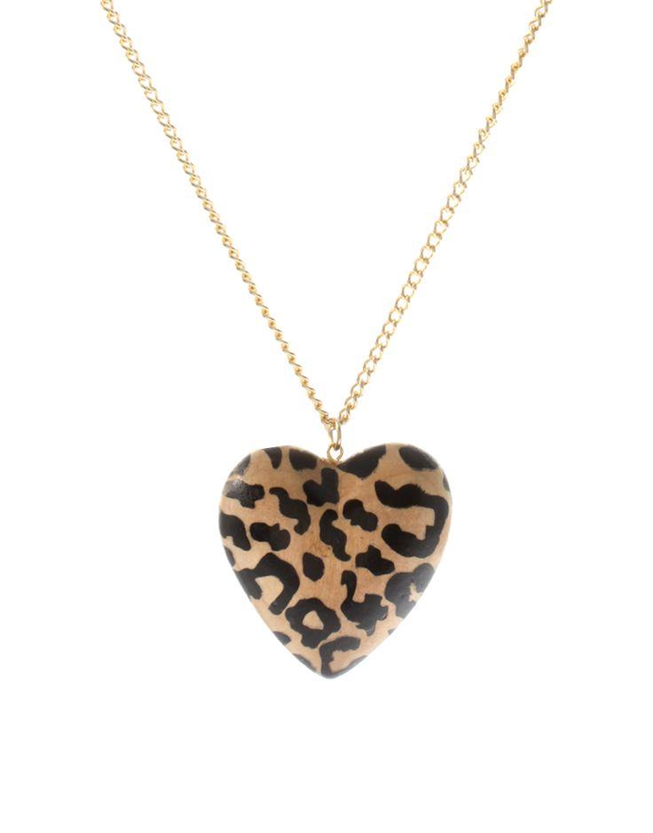 Leopard Print Puffed Heart Long Necklace