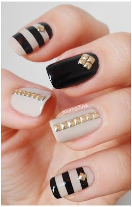 Gold square studded nails - I do Make Up in the Car