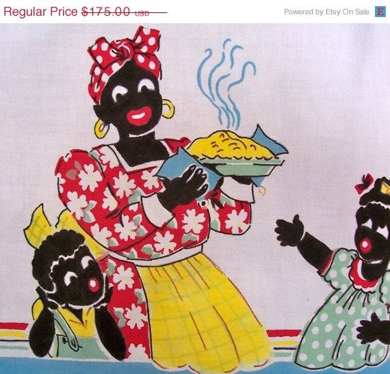 Vintage Tablecloths for Sale | SALE Vintage BLACK AMERICANA Tablecloth Mammy Pies by dyenah