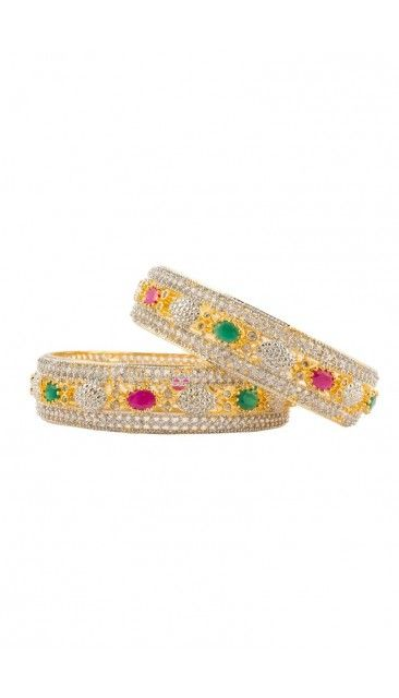 Indian Gold-Toned Bangles with Red and Green stones embellishment - 80957