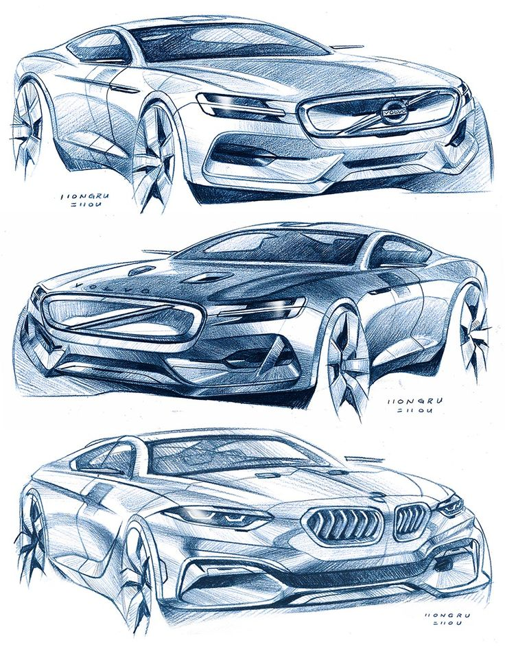 Car Design Sketches by Hongru Zhou