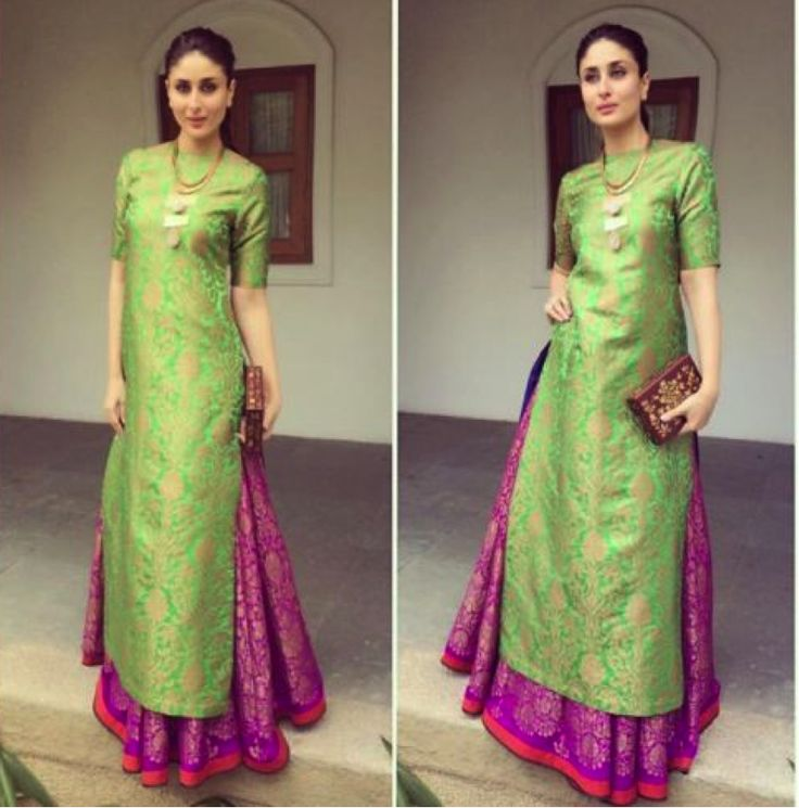 #Long #Kurta with Lehenga A long straight kurta with a lehenga looks just awesome. You can also wear it without a dupatta for a different style statement. Have a look at #KareenaKapoor picture below and see how a minimalistic neckpiece along with the long kurta is all what it requires.