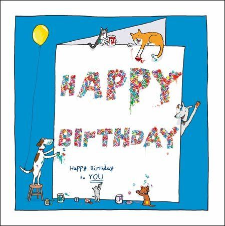Ticker Enterprises Carte d'anniversaire Motif Happy Birthday WDM1745 Battersea &Home Chien Chat Animaux: Amazon.fr: Fournitures de bureau