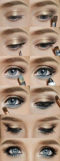 Gorgeous. The color underneath matches her eye color making her eyes stand out more. Works for any eye color, just use eye shadow the color of your eyes:)
