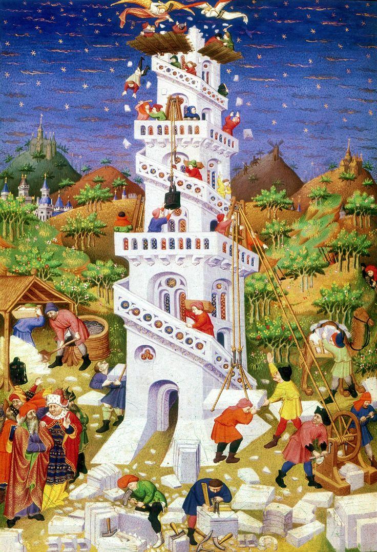 LIBRO DE HORAS. Torre de Babel. Libro de horas de Bedford. París, hacia 1423-30. Biblioteca Británica, Londres.