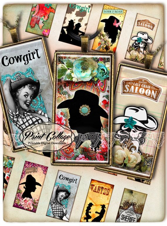Domino Pendants Printable images  Digital Collage also made for rectangle trays, bezel settings, glass, magnets by PrintCollage Etsy Western Cow Girls