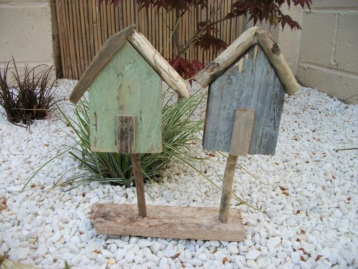 SOLD - Cute little Driftwood beach hut art £6.99