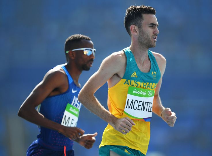 Hassan Mead of the United States (L) and Sam McEntee of Australia compete in the Men's 5000m Round 1 on Day 12 of the Rio 2016 Olympic Games at the Olympic Stadium on August 17, 2016 in Rio de Janeiro, Brazil.