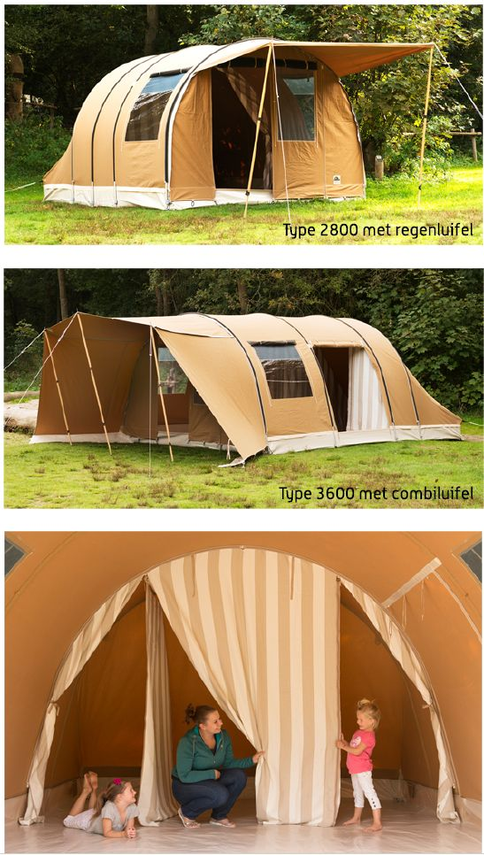 Karsten Tunnel Tent with Rain Awning Combination Awning and Internal View