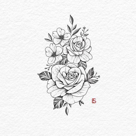 Es ist ein Morgen mit Kaffee und Rosen Rosen. ,,, _________________ #Tattoo … #Blumentattoos   – Flower Tattoo Designs