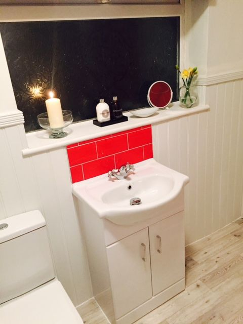 Festive Or Strawberries And Cream Interior Decor Inspiration Has Been Applied To This Fab Bathroom Featured