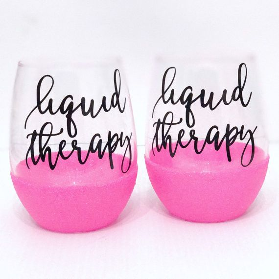 LIQUID THERAPY -STEMLESS GLITTER WINE GLASS