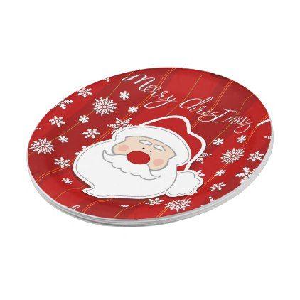 #Cute Santa Claus Face Merry Christmas Paper Plate - #Xmas #ChristmasEve Christmas Eve #Christmas #merry #xmas #family #kids #gifts #holidays #Santa
