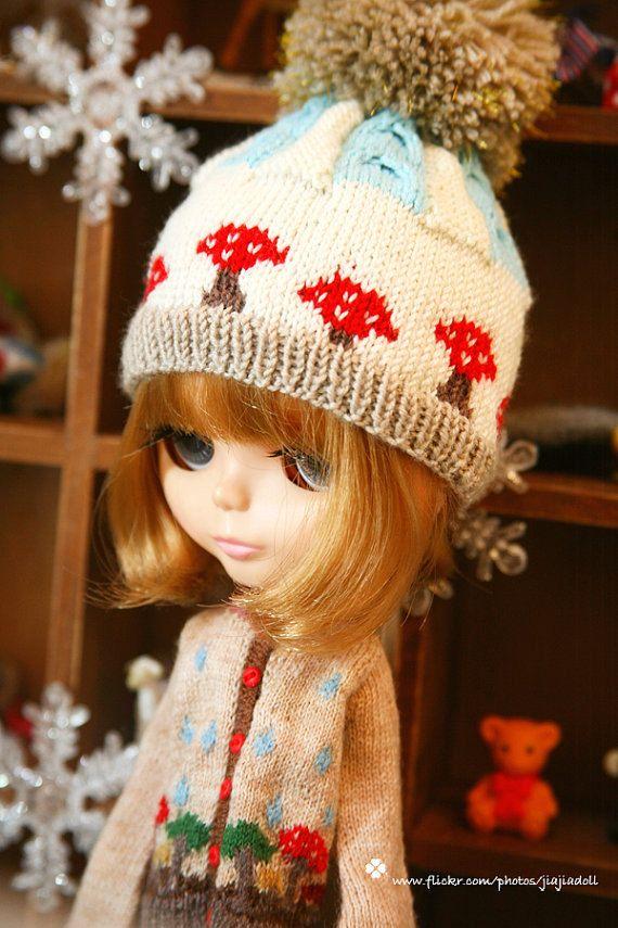 Jiajia DollHand Knit red mushroom twist pompom hat  by jiajiadoll, $58.00