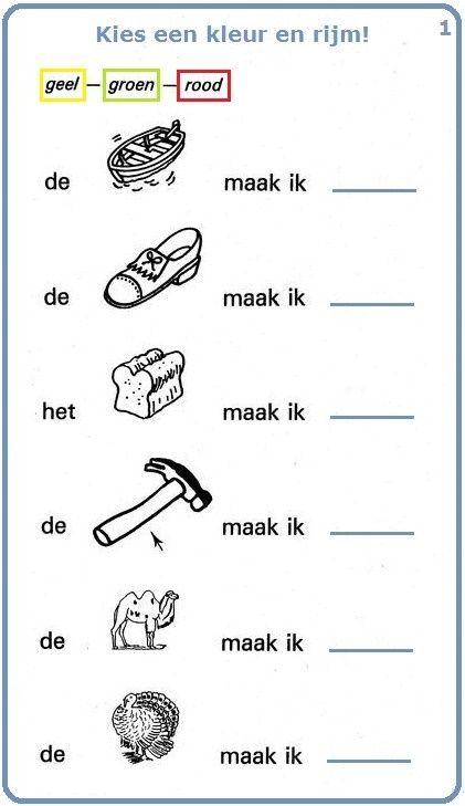 Woordenschatoefening : Kies een kleur en rijm! (1). Lees de zinnen en kijk naar de tekeningen : vind de namen van de voorwerpen en rijm met een kleur.