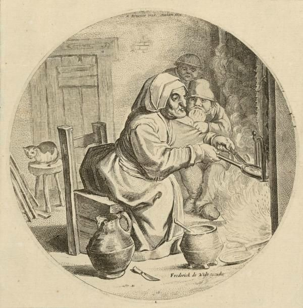Unknown artist, after Adriaen Brouwer (Flemish, 1605/6–1638), Pancake Woman, 1650–80. Engraving State ii/ii published by Frederick de Wit (ca. 1630–1706). Diameter: 18.1 cm (7 1⁄8 in.), London, The British Museum, S.6265. Image © The Trustees of the British Museum. All rights reserved EX.2018.3.12.
