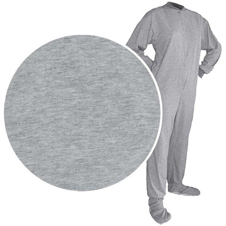 Big Feet PJs Gray Knit Footed Pajamas for Men and Women - Footed Pajamas for Women