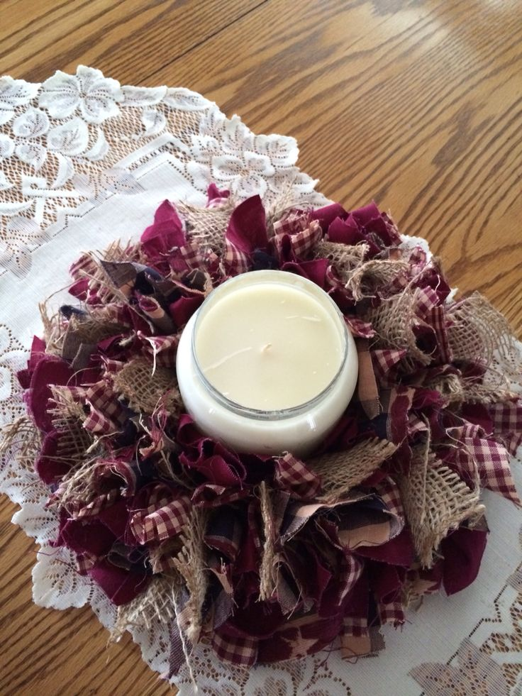 Primitive rag wreath candle holder!!   https://www.etsy.com/listing/218817518/primitive-rag-wreath-holder?