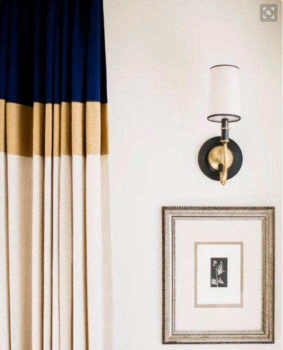 Color Block Curtains In Navy Gold And Natural Cotton Black