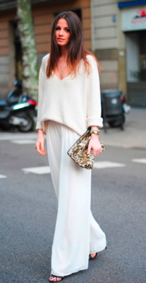 chic-ishly cozyStreet Fashion, Wide Legs Pants, Chic, Clothing, Street Style, Dresses, White Outfit, Wear