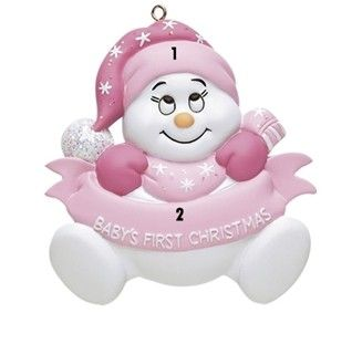 Baby Girl First Christmas Ornament Snowbaby with Words