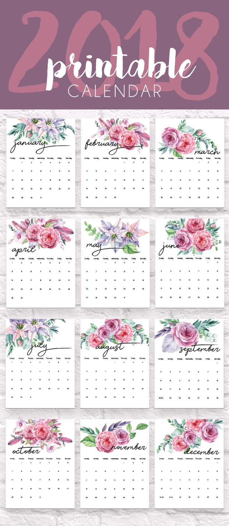 2018 Calendars, Organization Ideas, Printables, Free Printable Calendars, 2018