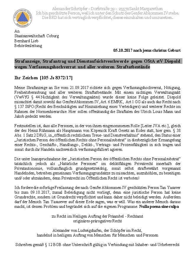 Strafanzeige, Strafantrag und Dienstaufsichtveschwerde gegen OStA stV Diepold weg…