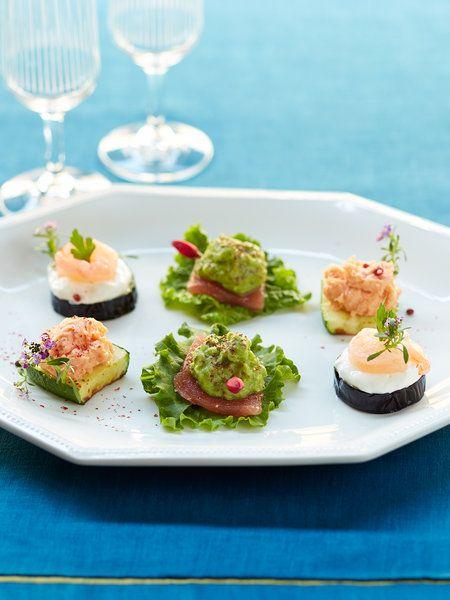 【ELLE a table】ベジタブルカナッペの盛り合わせ~ズッキーニ、なす、アボカドを使ってレシピ エル・オンライン