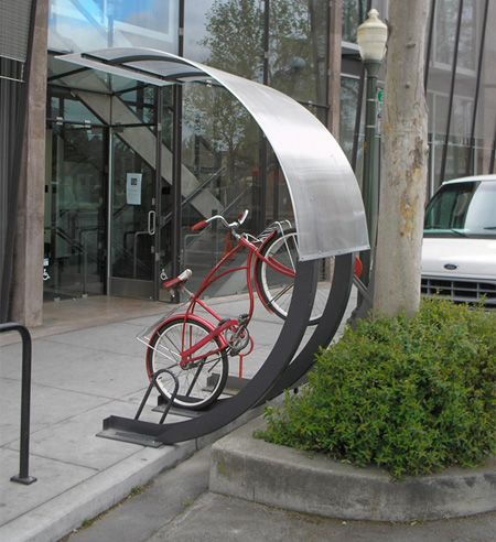bike rack. Bikes look like they stay dry during wet weather, too.