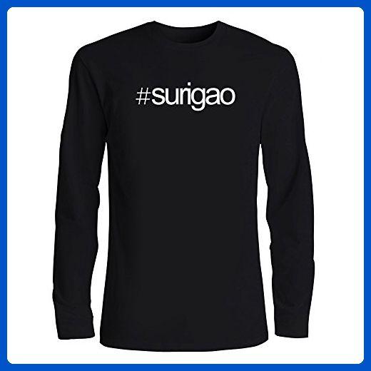 Idakoos - Hashtag Surigao - Cities - Long Sleeve T-Shirt - Cities countries flags shirts (*Amazon Partner-Link)