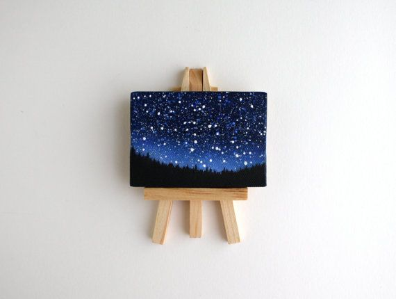 Miniatur-Nacht Himmel malen mit Staffelei