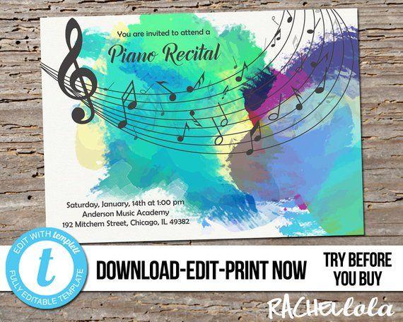 Editable Piano Senior Recital Invitation Printable Template Etsy Recital Retirement Invitation Template Teacher Retirement Parties