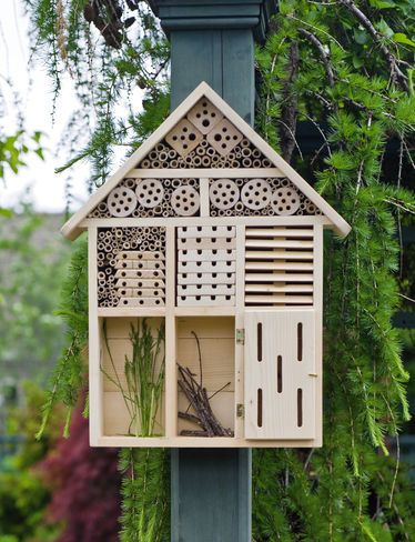 Habitat Hotel Welcomes Pollinators and Beneficial Insects    Invite beneficial insects into your garden and yard  Shelter is a beautiful landscape accent, too  Made from solid wood and bamboo