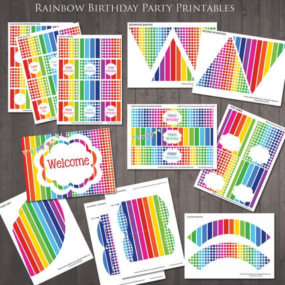 Welcome Home Baby Party Decorations: EDITABLE Rainbow Party Decorations