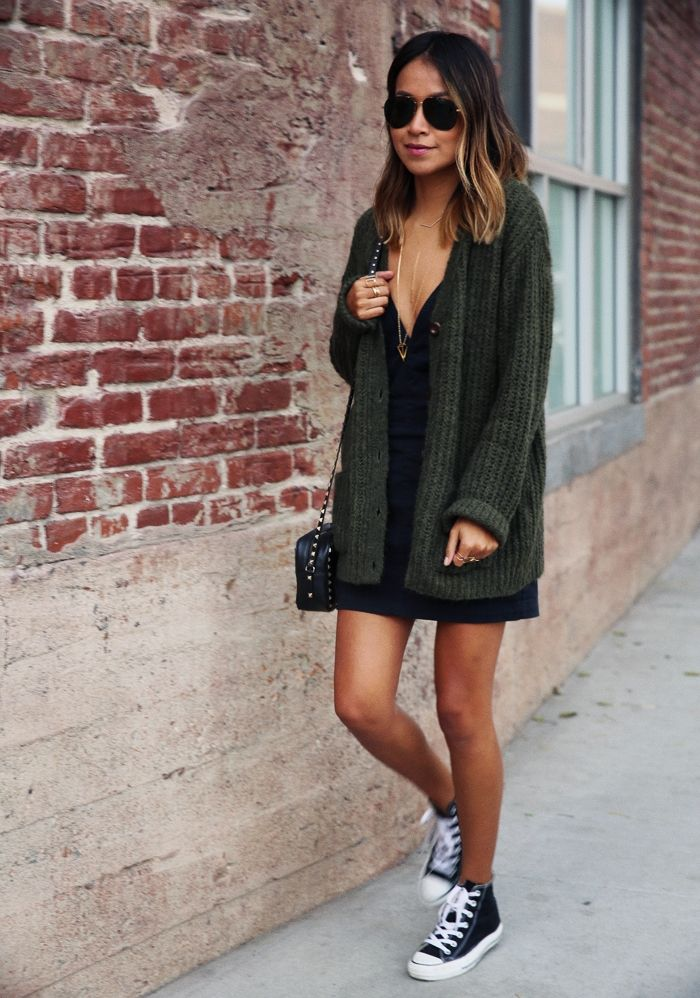 Look - Street - Robe - Noir - Gilet - Basket - Converse - Printemps