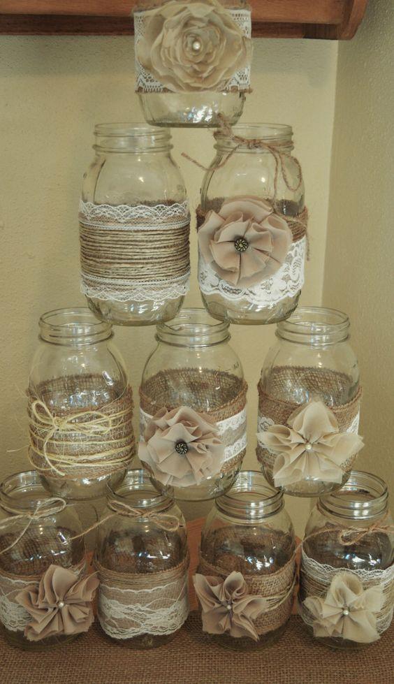 Mason Jar Sleeves Burlap Wedding Decorations
