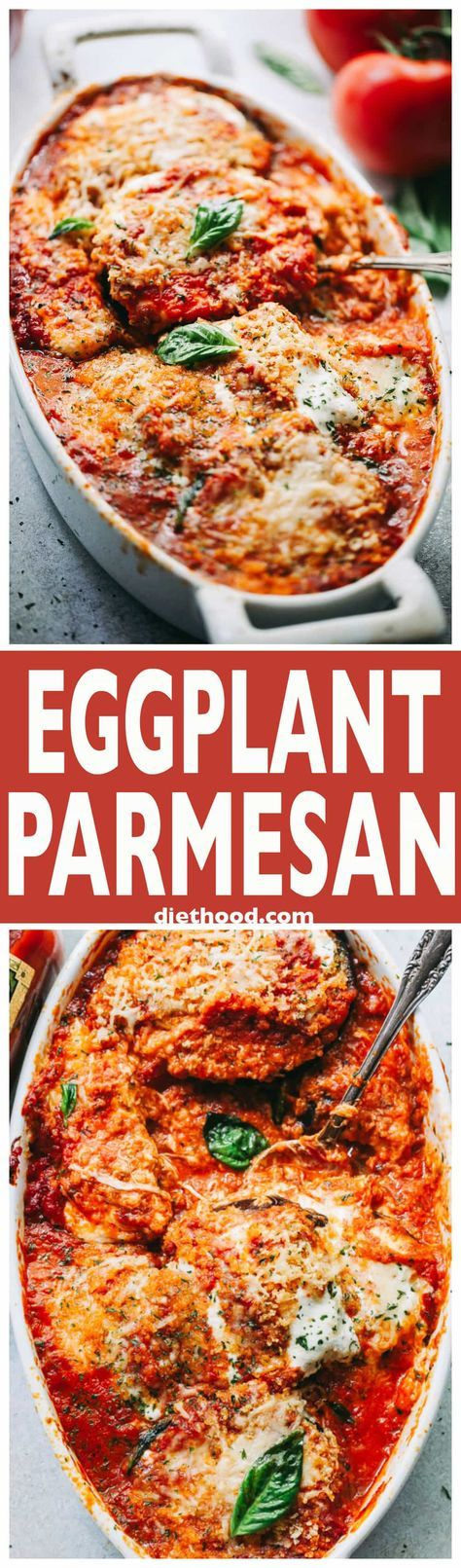 Eggplant Parmesan Recipe - A classic Italian baked Eggplant Parmesan prepared with eggplants, tomato sauce, and cheese! via @diethood