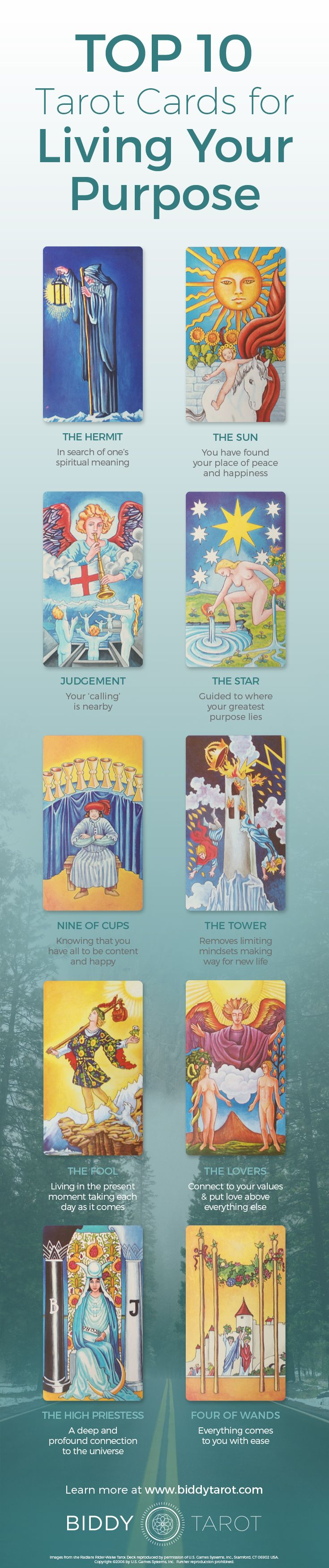 It's a wonderful feeling to be in tune with the #universe! When these #Tarot cards appear in a reading, you're on the path to living your #Life #Purpose to the fullest! Download your free copy of my Top 10 Tarot Cards for love, finances, career, life purpose and so much more at www.biddytarot.co... It's my gift to you!