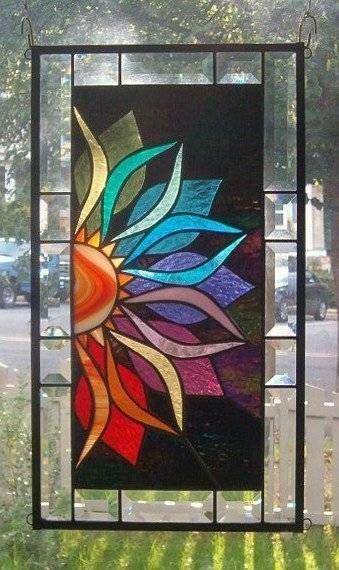 With Vivid Intensity Stained Glass Window Panel - i like the contrast here, could build sthg w that idea