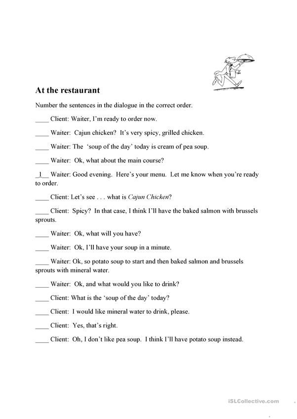 At The Restaurant Restaurant Teaching Jobs Sentences