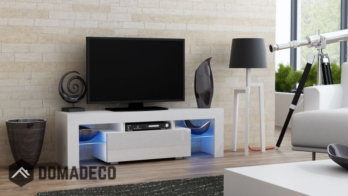 Milano 130 White Small Tv Stand Modern Living Room Black Modern Tv Units Contemporary Tv Units