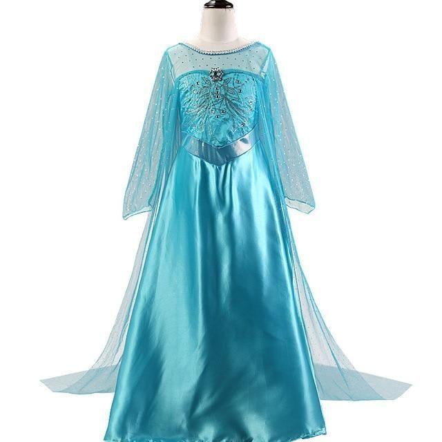 Eiskönigin Frozen Elsa Prinzessin Kleid Mädchen Kinder Cosplay Kostüm Partykleid