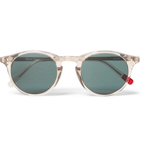 Sleek and contemporary, <a href='http://www.mrporter.com/mens/Designers/Oliver_Spencer'>Oliver Spencer</a>'s round-frame 'William' sunglasses have been masterfully crafted in Japan from transparent light-grey acetate. They're constructed with brushed silver-tone arms, vibrant red tips and dark-green lenses for a considered colour contrast. Keep them in tip-top condition inside the branded hard case.