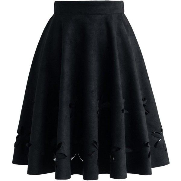 Chicwish Dancing Flower Cutout Suede A-line Skirt in Black ($42) ❤ liked on Polyvore featuring skirts, saias, bottoms, faldas, black, knee length a line skirt, suede skirt, cut out skirt, a line skirt and suede a line skirt