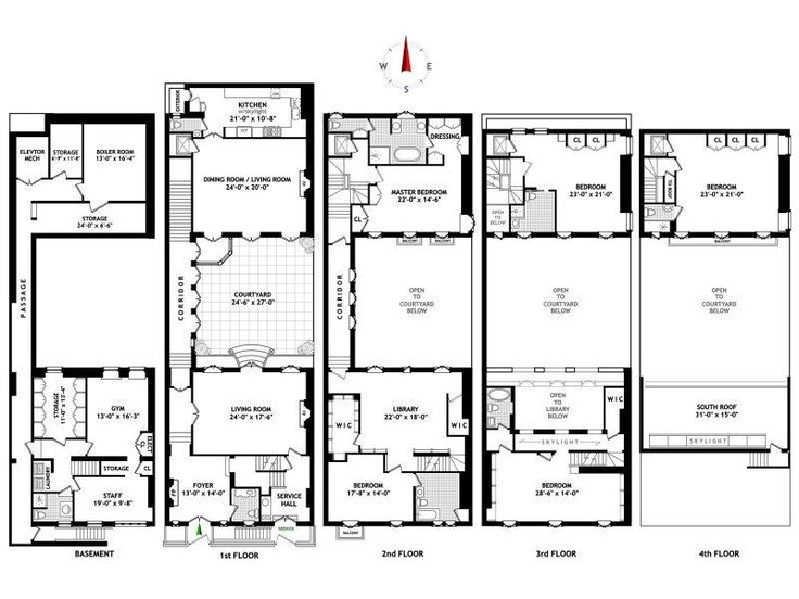 17 best images about townhouse floor plans on pinterest for Brownstone townhouse plans