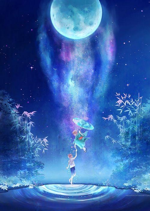 grafika anime, moon, and boy