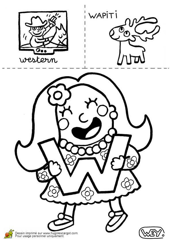 Coloriage de dessins représentant un western et un wapiti pour la lettre W.