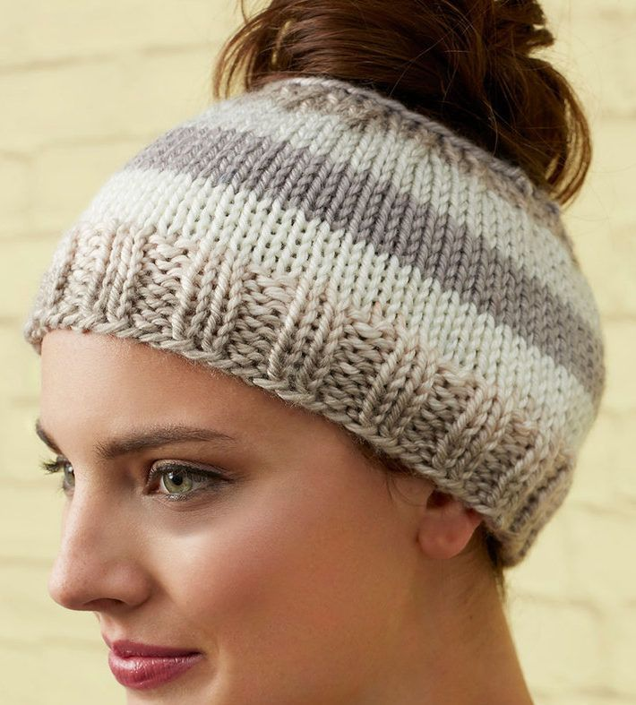 Free Knitting Pattern for Striping Messy Bun Hat - Laura Bain's easy ponytail hat is suitable for beginners. The striping is made with self-striping yarn. Quick knit in bulky yarn.